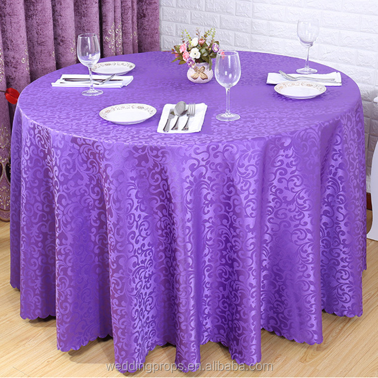 Wholesale jacquard round polyester hand embroidery designs wedding table cloth