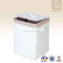 2014 New fashion and cheap foldable bamboo white laundry baskets with removable bag