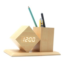 Home office Novelty voice-activated wooden digital led alarm clock <strong>pen</strong> <strong>holder</strong>