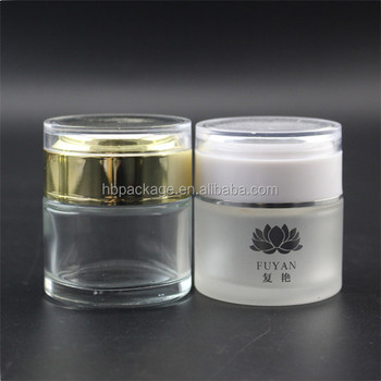 50g clear cosmetic glass jar with golden lid frosted glass jar with white lid