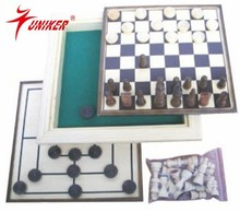 wooden box type game set 3 in 1 multiple game set for wholesale
