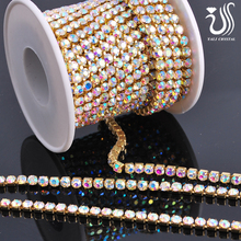 Wholesale crystal AB rhinestone close cup chain for korean children clothing