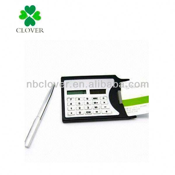 Name card holder pocket calculator with pen