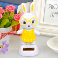 car dashboard toys solar energy toys solar powered dancing rabbit, wedding car decorative gift sun doll
