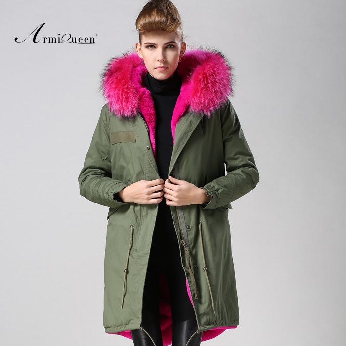 Long style Faux fur lining Jacket with fox fur hood collar Rose Red women coat supplier