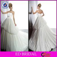 EDW226 Elegant Lace Strapless Bling Brooch Layered Wedding Dresses for Pregnant Brides