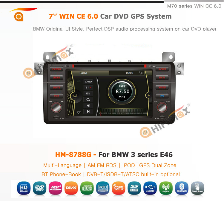 "HIFIMAX 2015 Hot sale 7"" digital touch screen special Auto video car dvd for BMW 3 series E46"