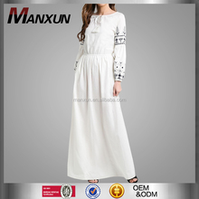 High Quality Linen Embroidered Long White Cotton Dress Muslim Women Breathable Fabric Casual Dress Abaya