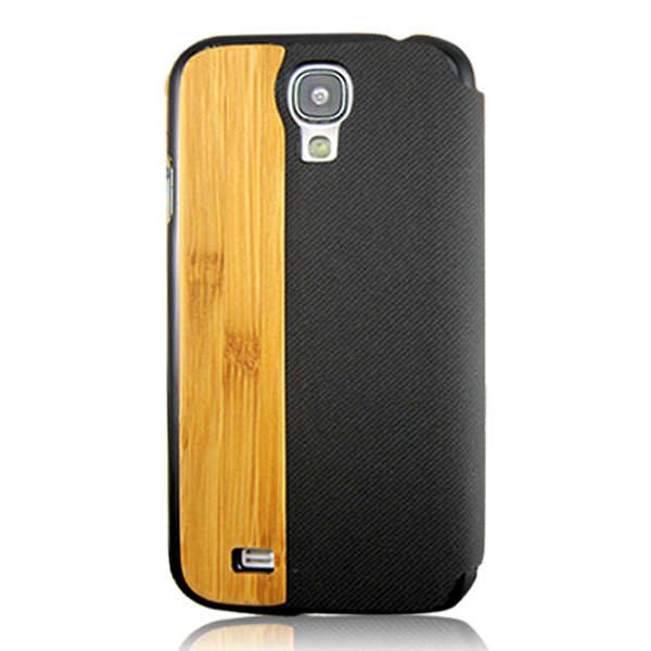 New products bamboo leather case custom phone shell popular wood mobile phone hull for Samsung S4