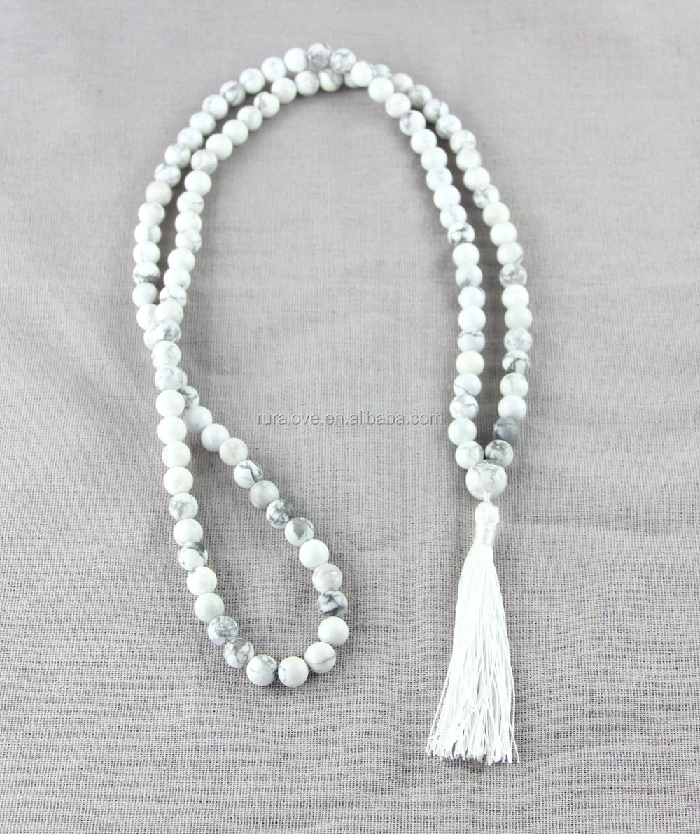 White tassel necklace with 8mm howlite beads
