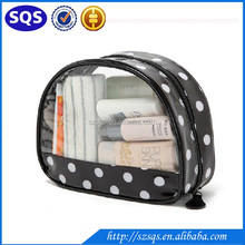 China Wholesale White Dot Printed Black transparent PVC travel stand up Cosmetic pouch with zipper