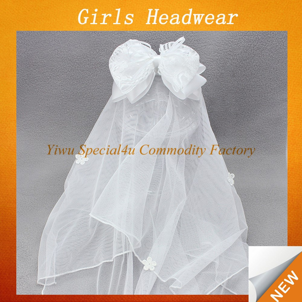 White tulle and big bow headband baby girl bride headwear lace headbands baby SFUH-094