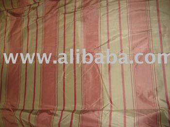 Candy Pink and Beige colour stripe Silk Taffeta Fabric~Width 54""