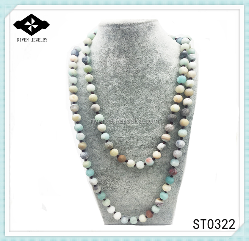 ST0322 Matte Amazonite Stone necklace boho Handmade Jewelry 42 inches knotted Frosted Amazonite Stone Necklace long necklac