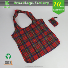Tartan cheap 190t pocket foldable tote bags