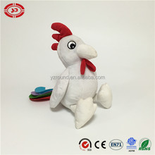 White rooster felt tail white plush soft stuffed sitting toy