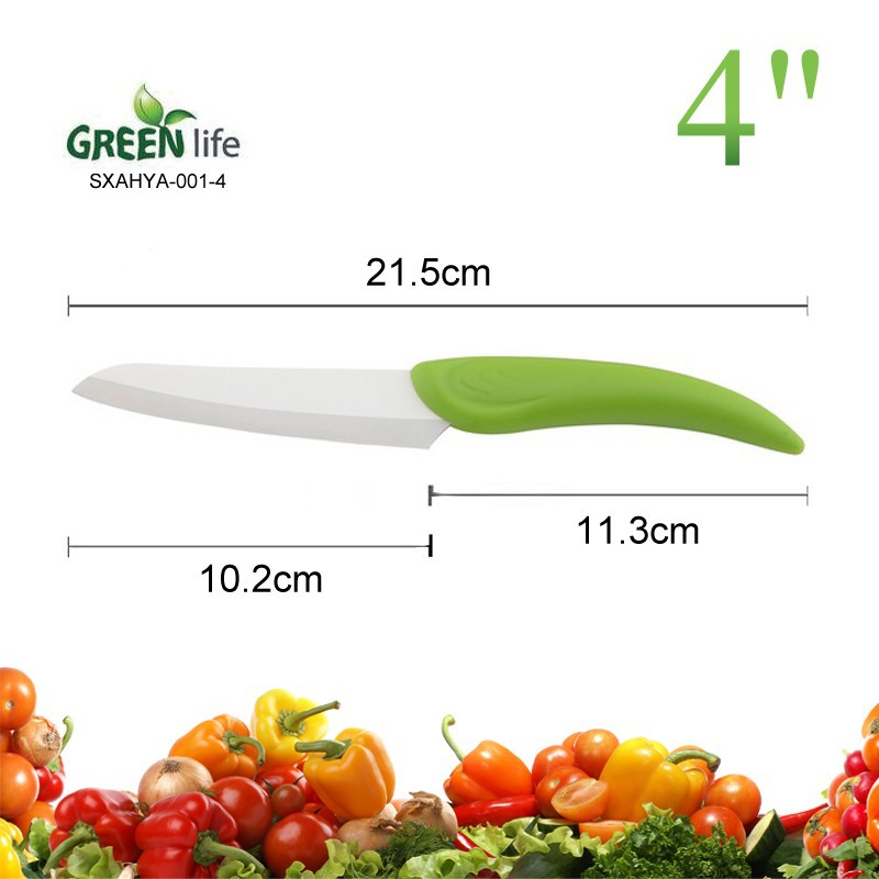 PP hanlde 4inch ceramic utility knife,green handle ceramic knife for Modern Kitchen