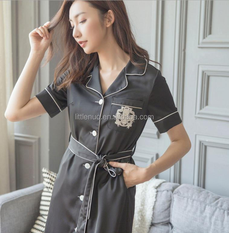 NR0026Z 2017 New Women Siamese Skirt Sweet Girl Nightdress Comfortable Short Sleeve Home Suit Sleepwear Sexy Night-robe