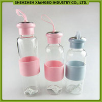 Custom glass water bottle with silicone handle band travel bottles wholesale cheap price