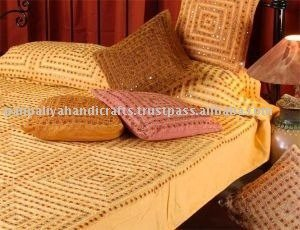 hand embroidered bedspreads, Indian Mirror Embroidred Bedspreads