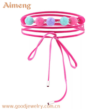 Layered pink lace heavy choker Necklace with small hair ball for girl