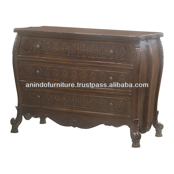 Mahogany Natural Carved Drawers Commode with 3 Drawers