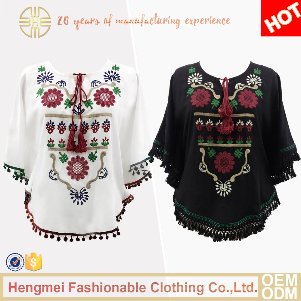 New Design Lady White Embroidered Batwing Sleeve Ladies Tops Cotton Blouse