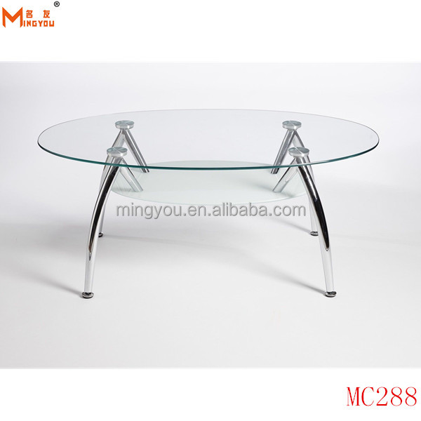 cheap chrome oval glass coffee table modern