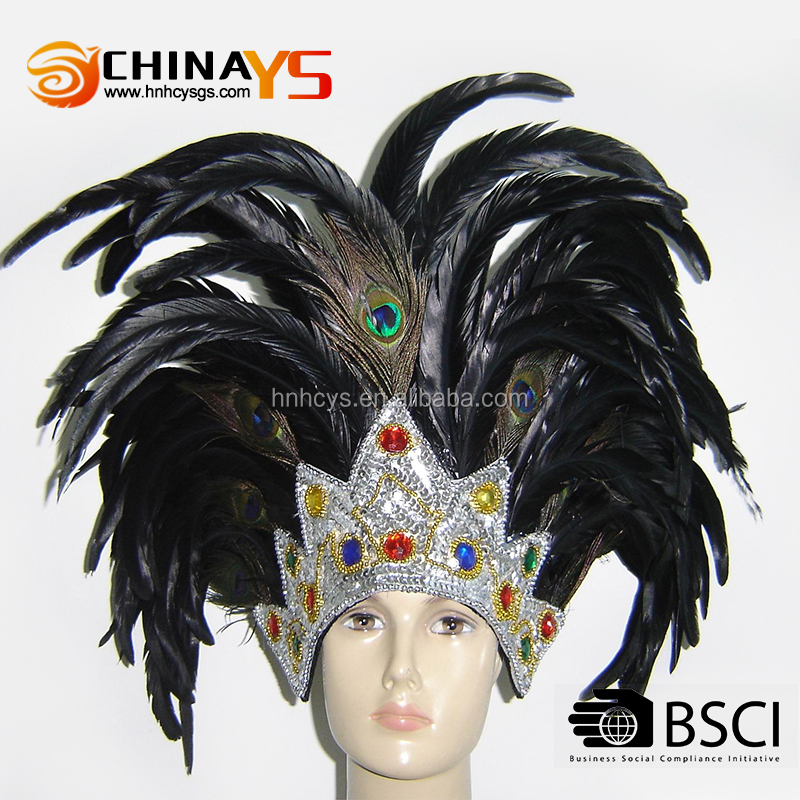 Hot sale high quality indian chief black feather headband with diamond