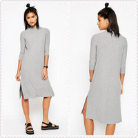 2016 latest Fitted sleeves Ribbed jersey High Neck casual Dress