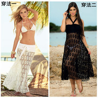 Big Plus Size Women Tops Fashion Lace Blouse White Black Off Shoulder Sheer Sexy Beach Loose Blouses