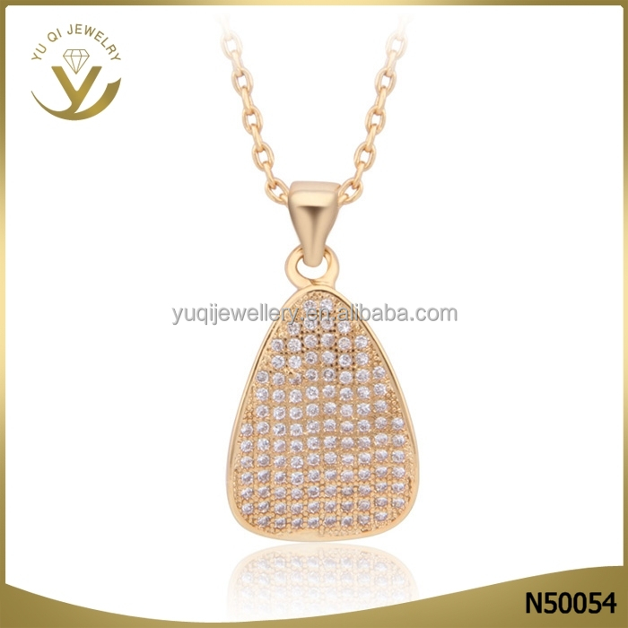 Latest design jewelry 18k gold plated AAA diamond zircon wedding pendants necklace for lady