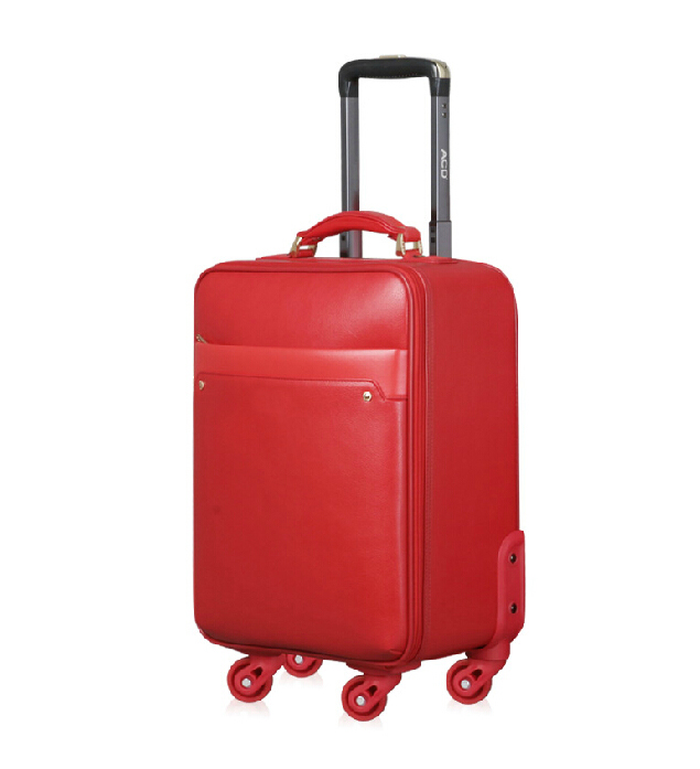 Decent laptop computer PU leather soft red travel trolley luggage bags