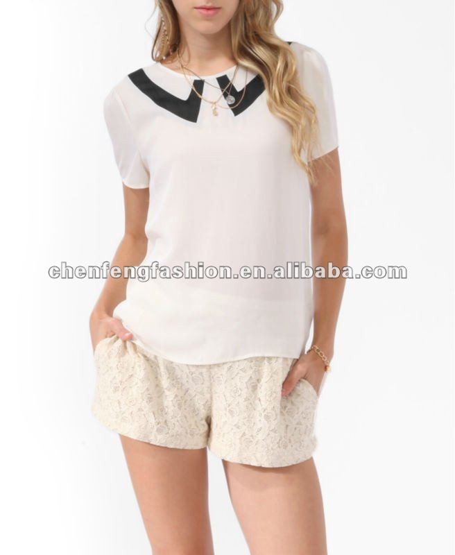CHEFON Pointed collar inset 2014 fashion women blouses collar designs CB0319