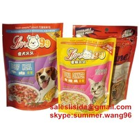 zipper top plastic stand up pet food bag/stand up pet food packaging bag