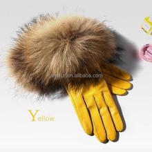 Top luxury fashion desgin beautiful raccoon fur wrist ladies sheepskin leather gloves