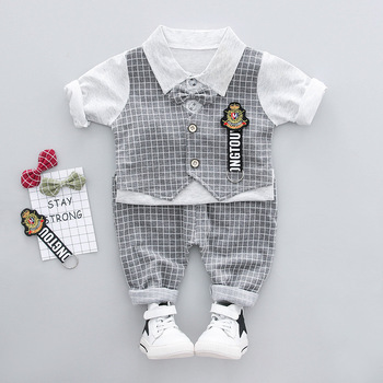 Wholesale price summer children clothes cartoon short sleeve baby suit top+harem pants 2pcs sets