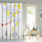 NEW design Christmas colors printed polyester shower curtain