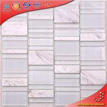 Eco-friendly White Glass Blend Stone Mosaics Interior Wall Decoration
