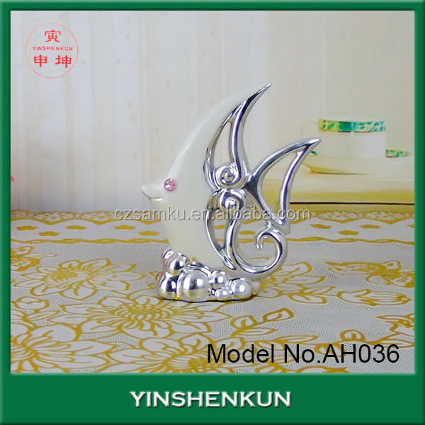AH036 ceramic fish electroplated sculpture for home decoration