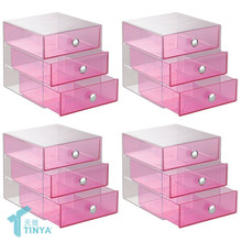 Wholesale Pink Makeup Storage Cabinet Showcase,Home Decor Stationery Organizer, Custom Acrylic Cosmetic Counter Display Drawer