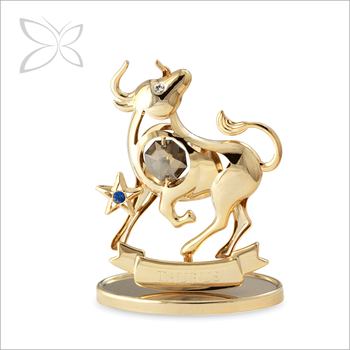 Wholesale Special Gold Plated Metal Zodiac Signs Crystal Taurus for Gift Home Decoration