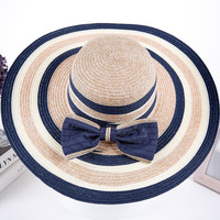 Ladies High Quality Summer Beach large brim Handmade Paper straw hats bowknot decoration