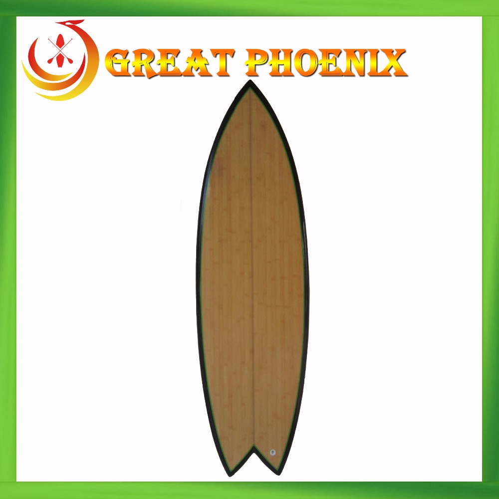 Hot selling bamboo fish surfboard shortboard with fins