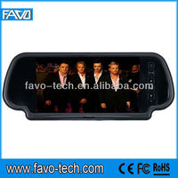 7 inch TFT LCD reversing car mirror monitor with 2 ways input