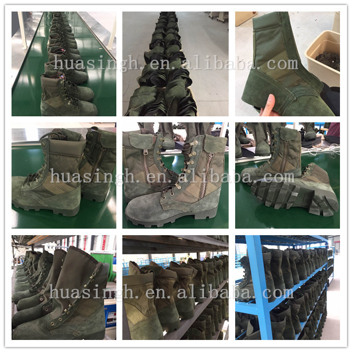 combat training sage green suede leather army boots for military school