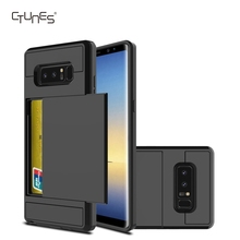 Hybrid High Impact Shockproof Rubber Bumper Anti-scratch Card Slot Holder Protective Case Cover For Samsung Galaxy Note8