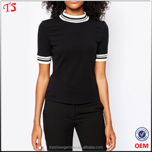 Dongguan garments factory wholesale women t shirt with high neck