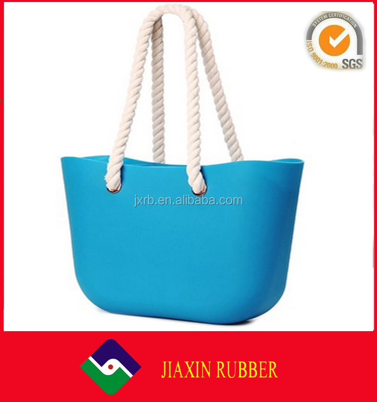 Fashion silicone beach bag with high quality/Factory OEM & Customise silicon beach bag with rope handle