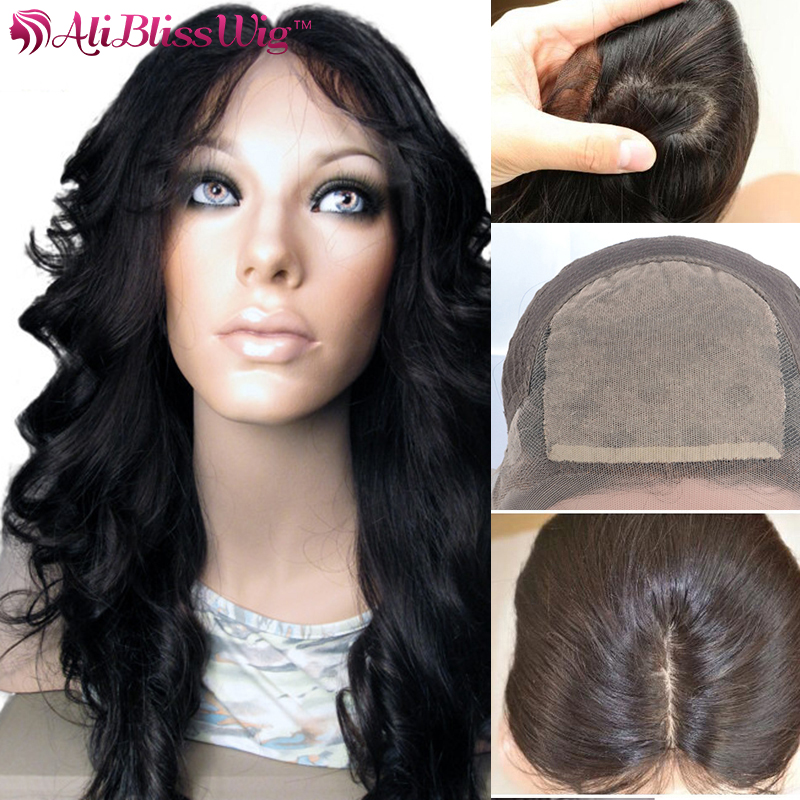 Wholesale 150% Density Middle Part Body Wave 100 Percent Indian Remy Human Hair Silk Top Full Lace Wigs With Baby Hair